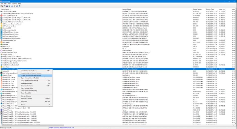 NirSoft UninstallView für Softwarepaketierung